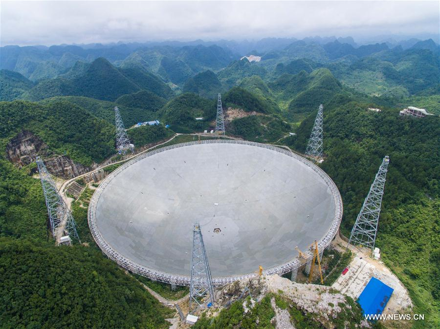 (新华视点·图片版)(1)世界最大单口径射电望远镜FAST主体工程完工
