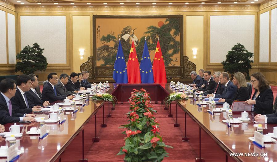 (XHDW)李克强与欧洲理事会主席图斯克、欧盟委员会主席容克共同主持第十八次中国欧盟领导人会晤