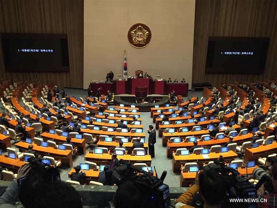 (国际)韩国国会投票表决通过了针对总统朴槿惠的弹劾动议案