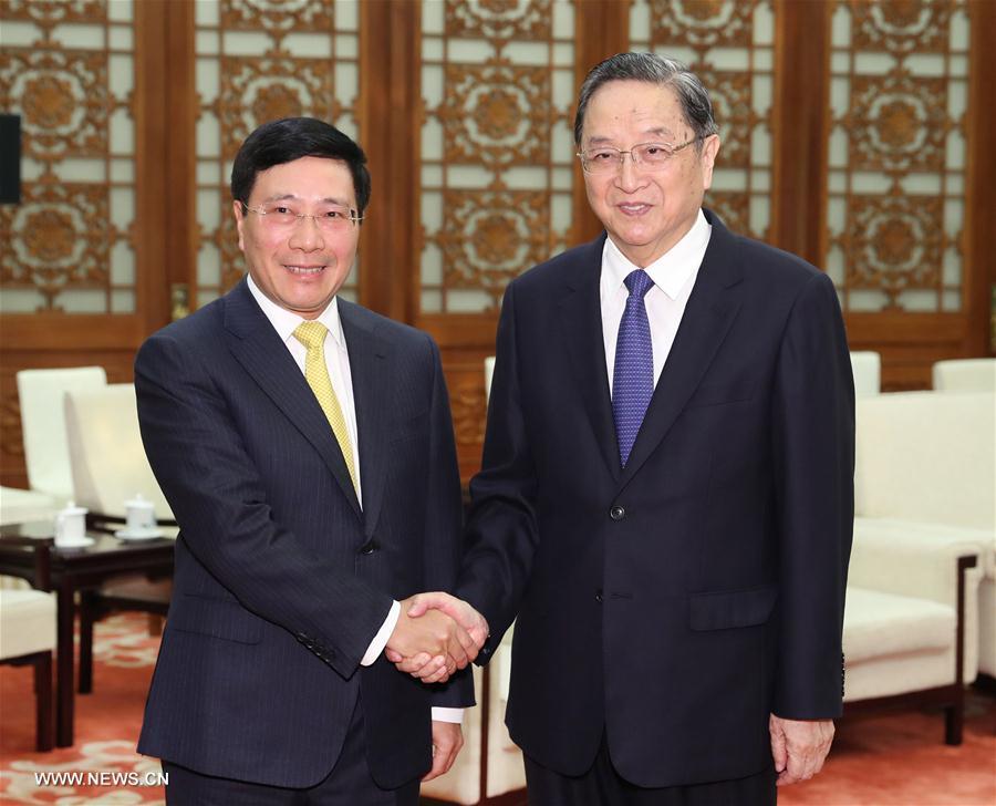 (时政)俞正声会见越南副总理兼外长范平明