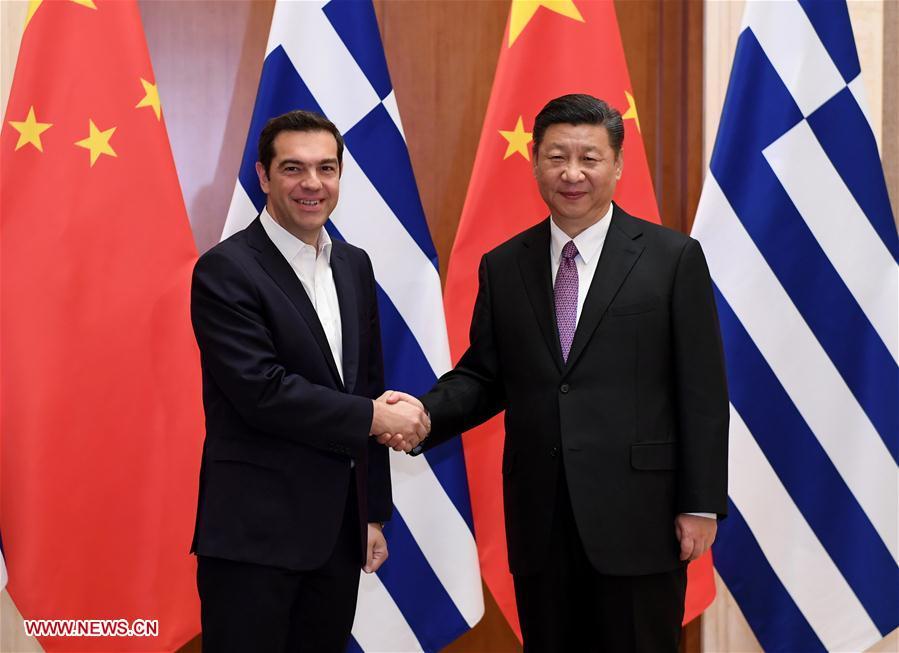 (一带一路·高峰论坛)习近平会见希腊总理齐普拉斯