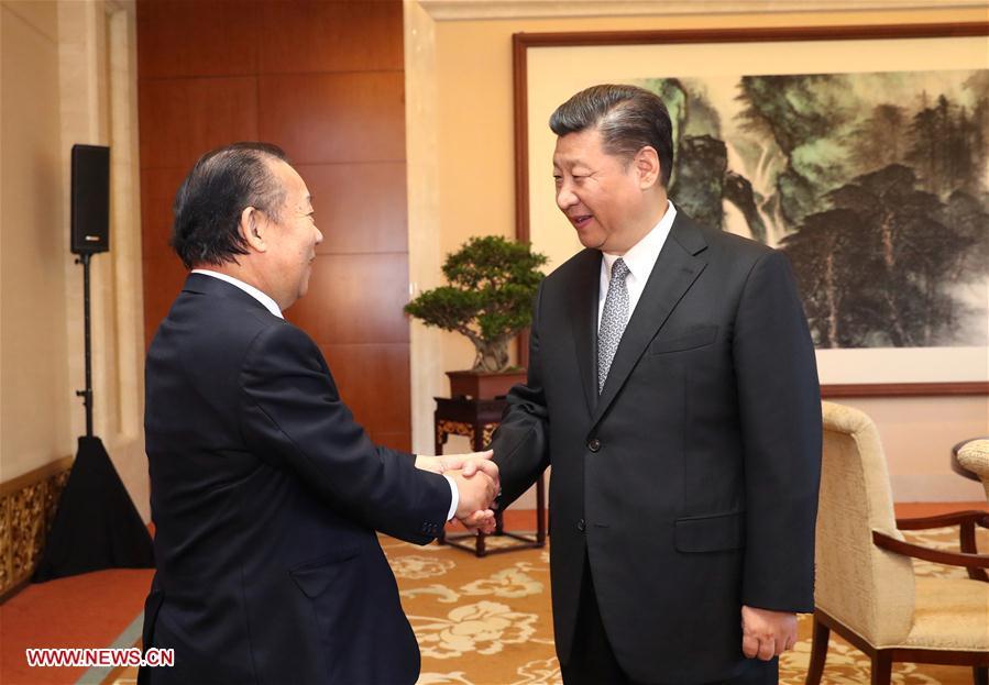 (一带一路·高峰论坛)习近平会见日本自民党干事长二阶俊博