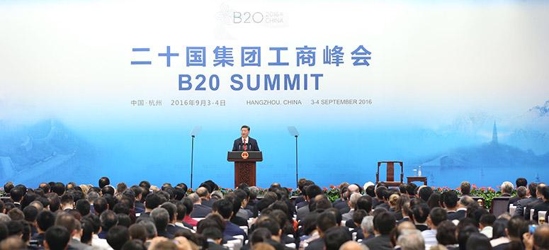 Le président chinois prononce un discours au sommet du B20