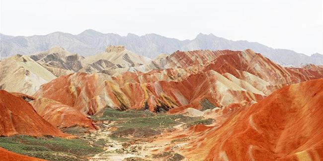 Chine : paysage du relief Danxia au Gansu