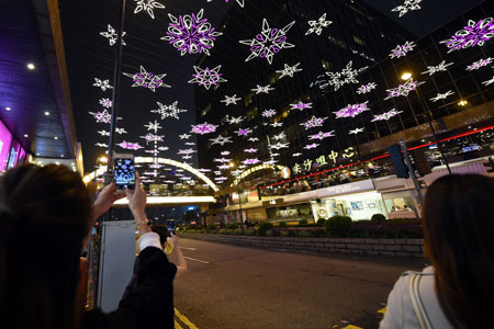 Chine: illuminations de Noël à Hong Kong