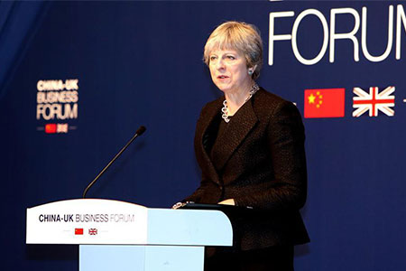 Theresa May lors du Forum d'affaires Chine-Royaume-Uni