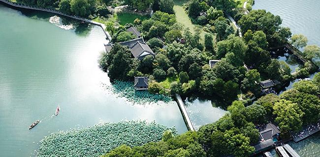 Vue aérienne du site touristique du lac de l'Ouest à Hangzhou